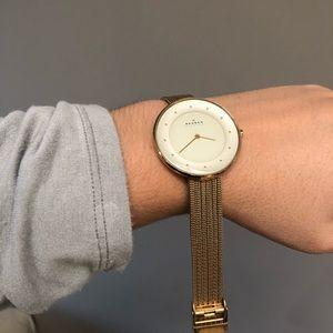 Skagen Gold Tone Mesh Watch (needs new battery!!)